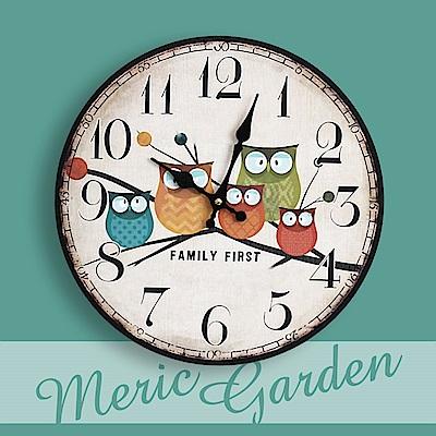 【Meric Garden】風格仿舊裝飾壁掛式時鐘/壁鐘/掛鐘(童話貓頭鷹)