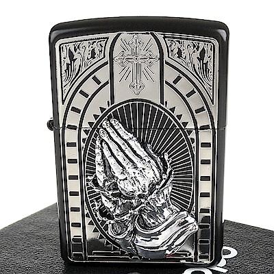 ZIPPO 日系~祈禱之手-蝕刻圖案立體貼飾加工打火機