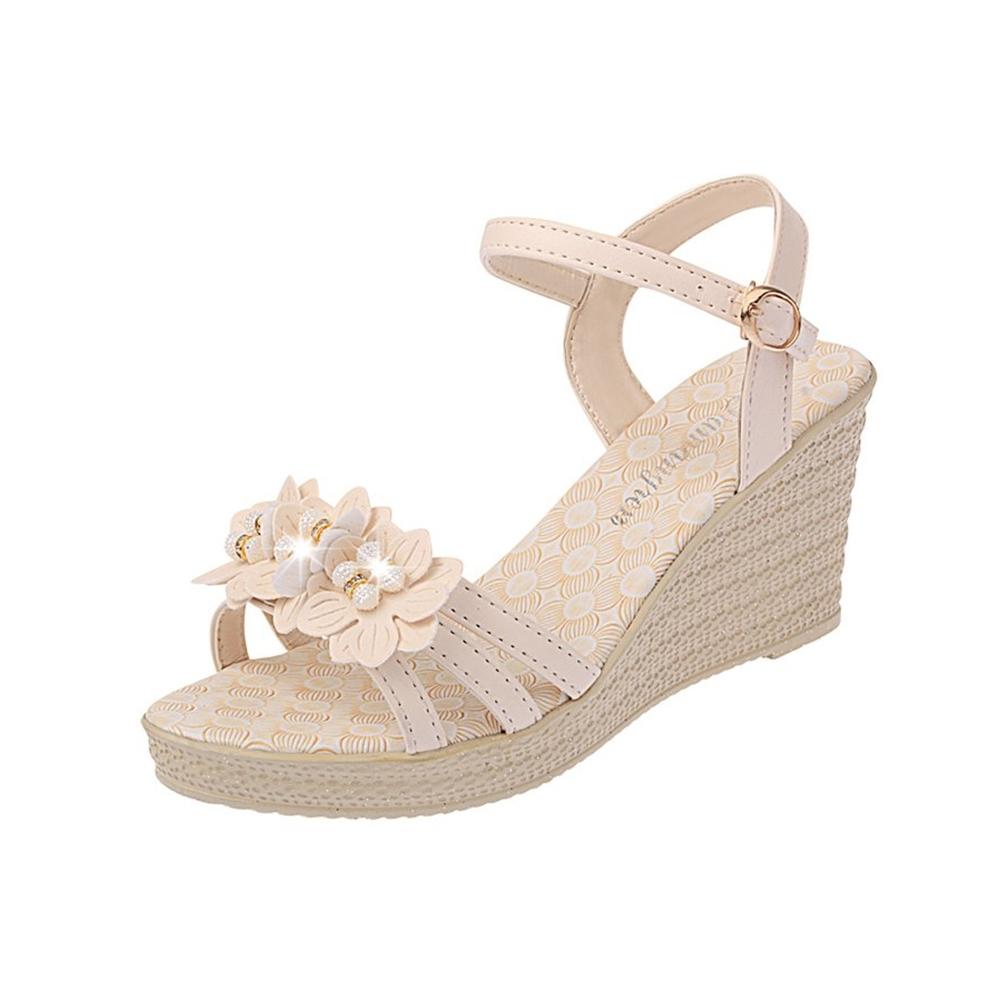 KEITH-WILL時尚鞋館 獨家價明星款英倫風美腿坡跟涼鞋-米