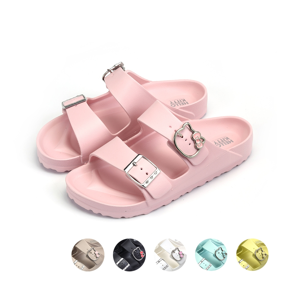HELLO KITTY艾樂跑女鞋-輕量防水兩版拖鞋-粉/卡其/黑/白/水藍/黃(921001)