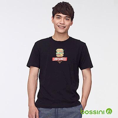 bossini男裝-印花短袖T恤37黑