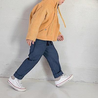 親子款~點點拼色腰鬆緊綁帶棉質休閒長褲-OB大尺碼
