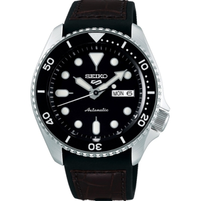 SEIKO 精工 5 Sports 系列 黑面皮帶機械錶4R36-07G0C(SRPD55K2)x咖啡色皮帶x42.5mm