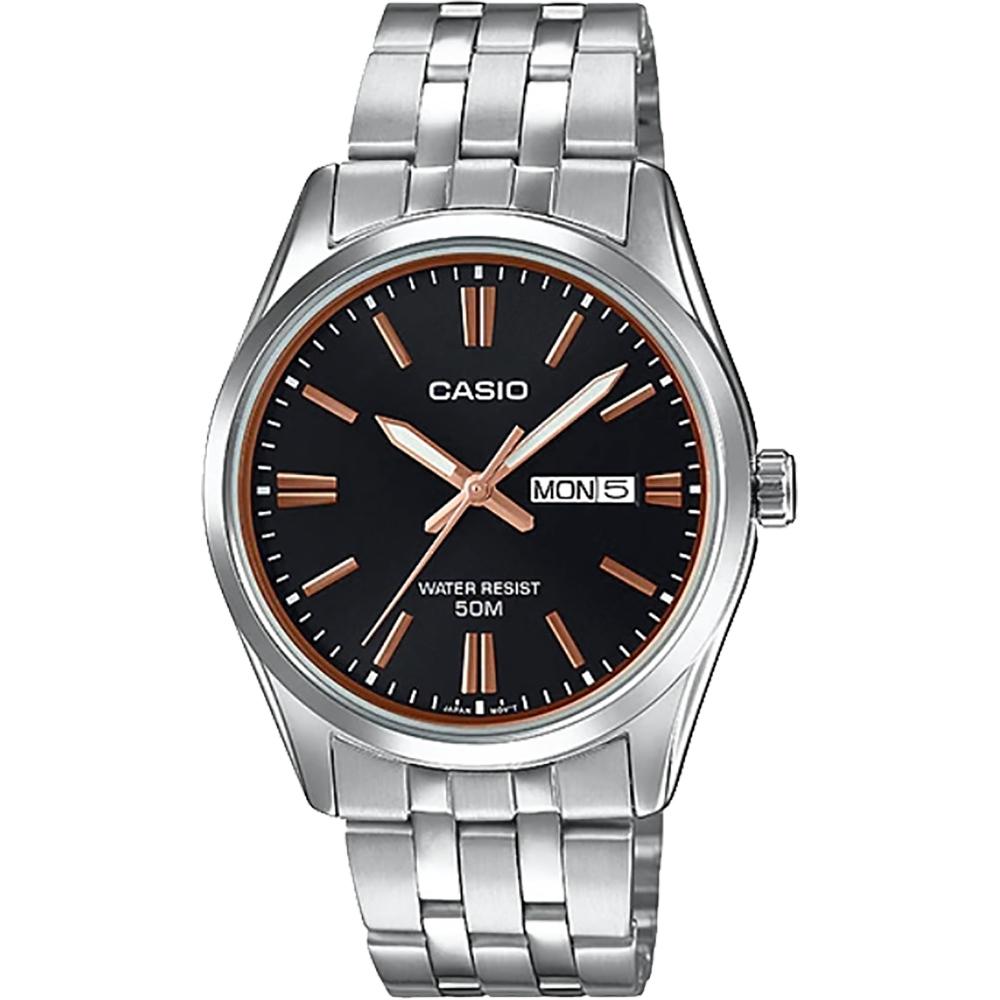 CASIO 卡西歐 城市日曆手錶-黑x銀(MTP-1335D-1A2V)