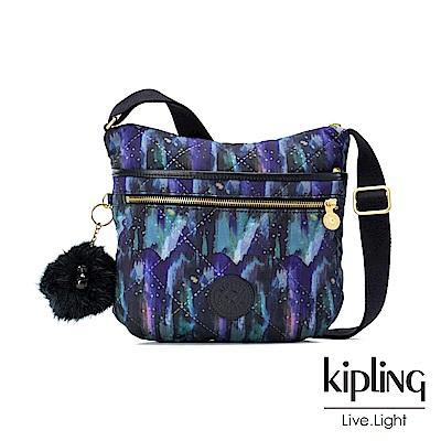 Kipling 渲染潑墨金點印花前拉鍊側背包-ARTO
