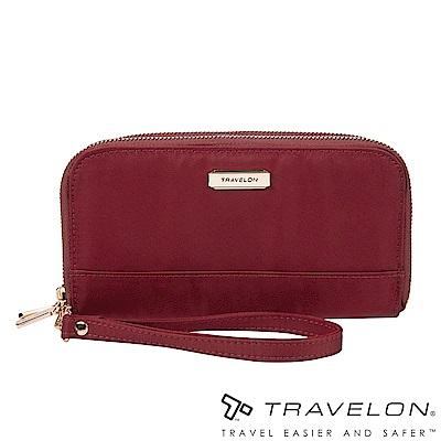 Travelon美國防盜包 RFID BLOCKING雙層拉鍊長夾TL1-43399紅