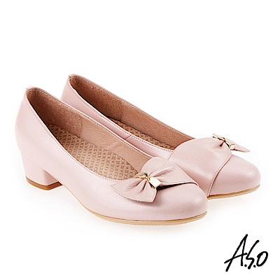A.S.O 美型對策 職場通勤甜美蝴蝶奈米低跟包鞋 粉橘