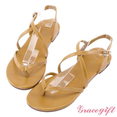 Grace gift-交叉羅馬細帶夾腳涼鞋 黃
