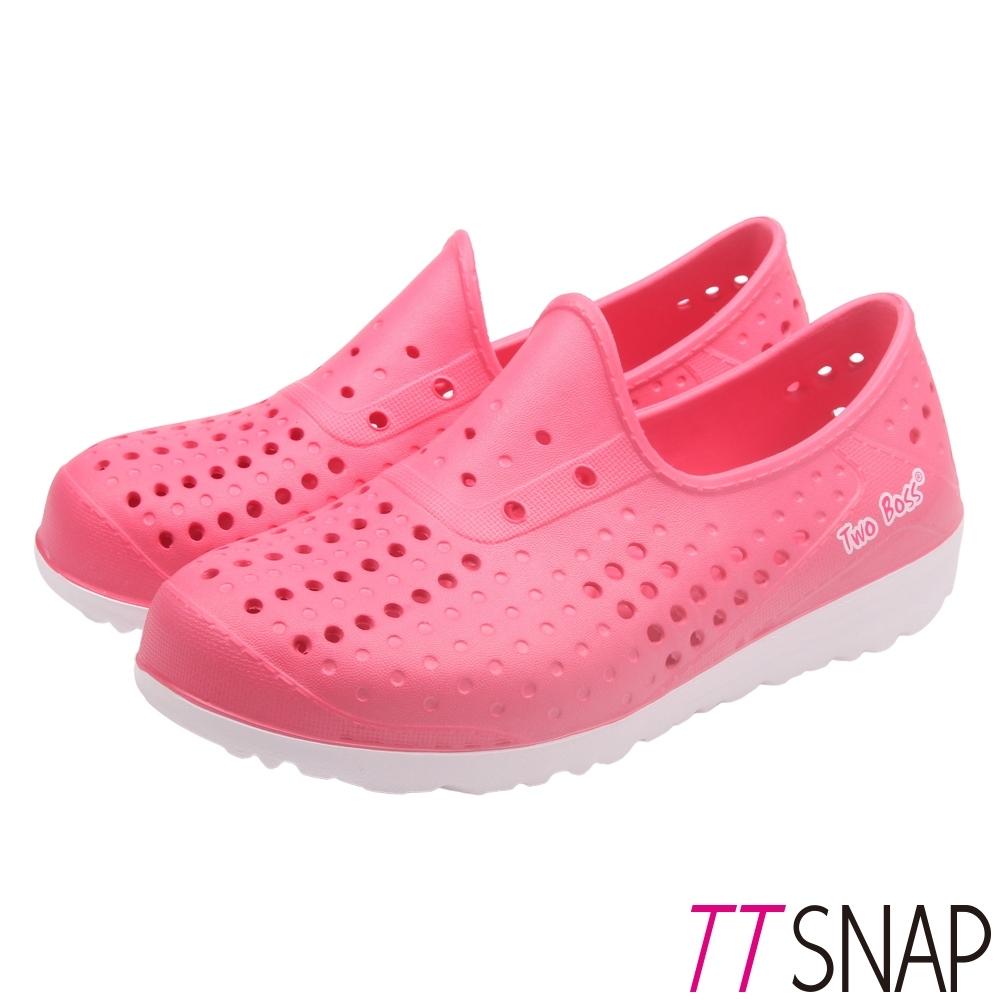 TTSNAP平底鞋-輕巧防水透氣洞洞鞋 桃