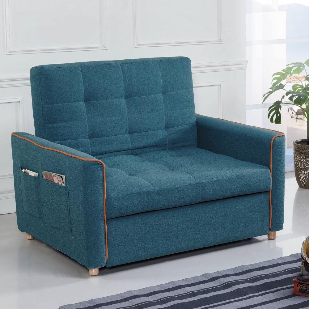 文創集 賓漢時尚藍棉麻布二人沙發/沙發床(拉合式機能設計)-130x90x98cm免組
