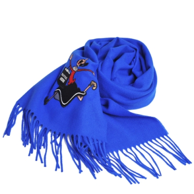 MOSCHINO BOUTIQUE 義大利製奧莉薇刺繡圖騰美麗諾羊毛圍巾(寶藍色)