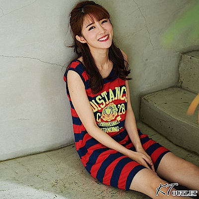 KT 泡棉英文字條紋連身裙-紅色