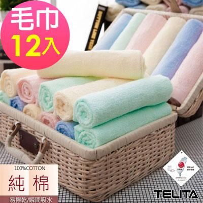 典雅素色毛巾(超值12入組)TELITA