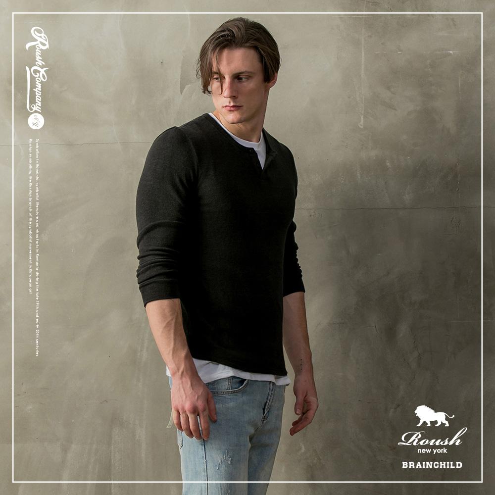 Roush 亨利領開釦針織毛衣(2色)