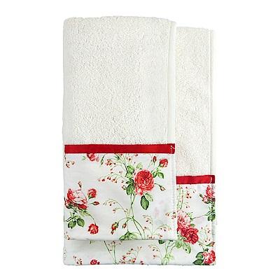 日本丸真 義大利製頂級純棉厚磅飯店浴巾-浪漫紅玫瑰