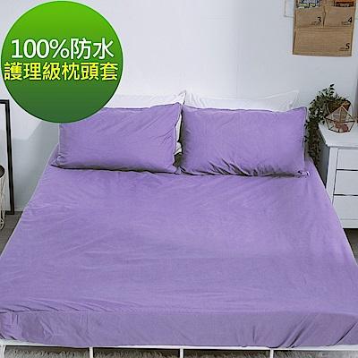 eyah 宜雅 台灣製專業護理級完全防水雙面枕頭套2入組 茄子紫