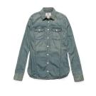 Timberland 女款復古藍素面修身長袖牛仔襯衫