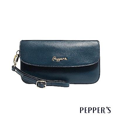 PEPPER`S Sophia 羊皮掀蓋手拿包 - 午夜藍