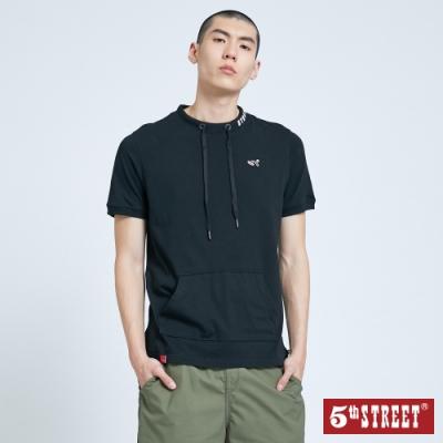 5th STREET 休閒抽繩口袋 短袖T恤-男-黑色