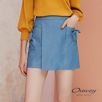 OUWEY歐薇 造型活片緞帶仿丹寧褲裙(藍)