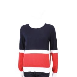 ALLUDE 喀什米爾法式感拚色藍色長袖針織羊毛衫