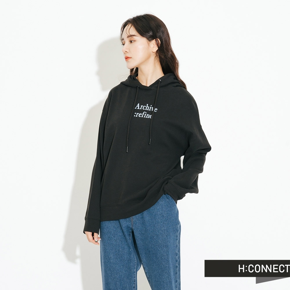 H:CONNECT 韓國品牌 女裝-休閒抽繩印字帽T-黑