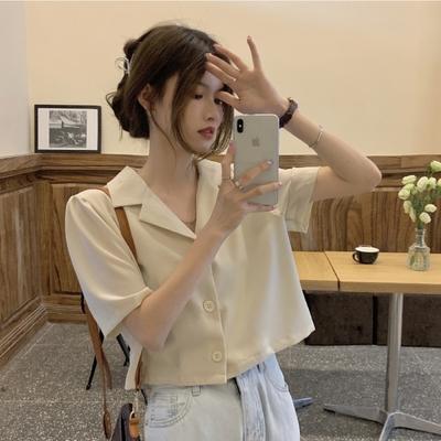 中大尺碼短版別緻上衣雙翻領排釦開釦短版西裝外套L~4L-Ballet Dolly