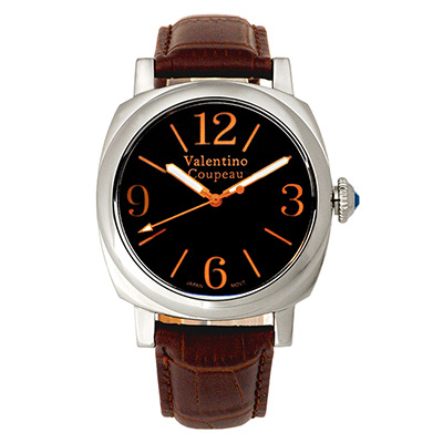 Valentino Coupeau 范倫鐵諾 古柏 紳士風尚腕錶 黑面 咖啡皮帶