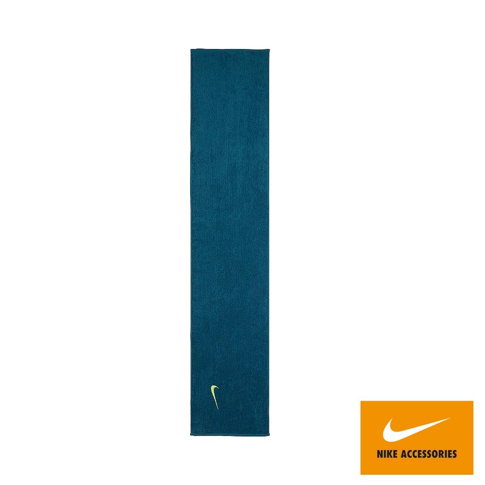 NIKE 運動毛巾 健身 慢跑 長型毛巾 SOLID CORE 120x25cm 藍綠 N1001540307