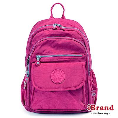iBrand後背包 簡約素色超輕盈尼龍多功能後背包-桃紫色