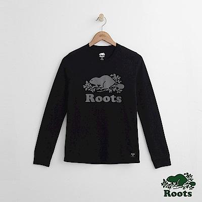Roots -女裝- 反光LOGO長袖上衣 - 黑