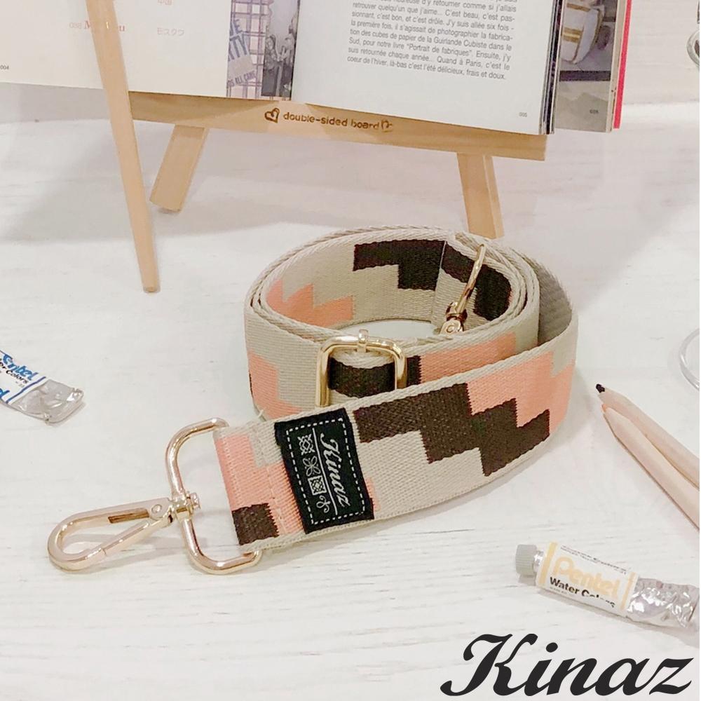 KINAZ 幾何方塊品牌質感寬版背帶-甜桃杏仁-帶我走系列
