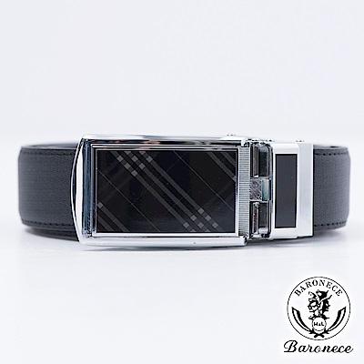 【BARONECE】時尚高品質皮革格紋皮帶_黑色(517003)