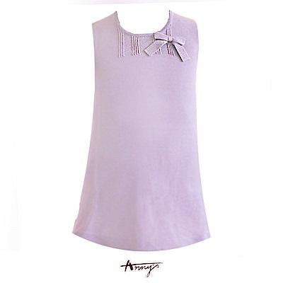 素雅針織蝴蝶結背心洋裝*紫