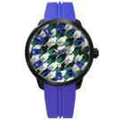 Tendence 天勢表 千鳥格立體時標日期防水矽膠手錶-綠白x黑框x藍/51mm