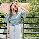 鏤空蕾絲拼接綴珍珠造型袖高含棉上衣-OB大尺碼