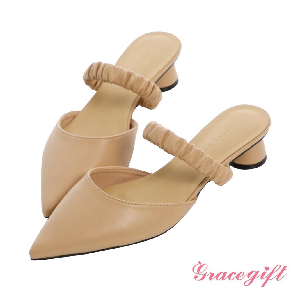 Grace gift-尖頭鬆緊條帶低跟鞋 杏
