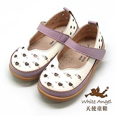 天使童鞋 愛心在飛翔娃娃鞋(小-中童)i931-白