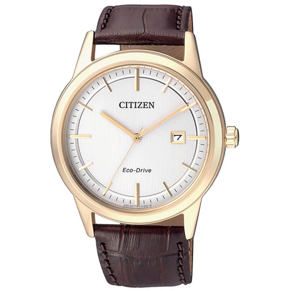 CITIZEN 星辰Eco-Drive 紳士風格光動能真皮腕錶(AW1233-01A) @ Y!購物