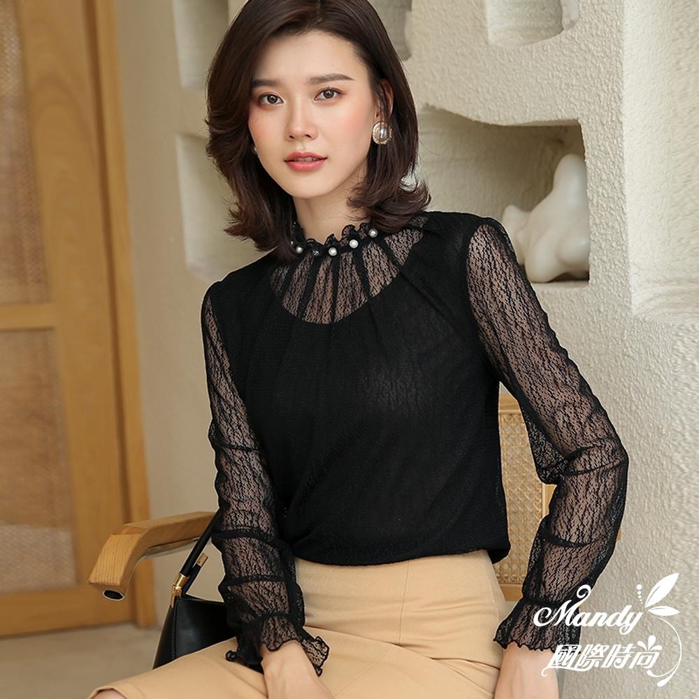 長袖上衣 秋 荷葉邊喇叭袖上衣時尚長袖蕾絲衫(3色)  【韓國服飾】
