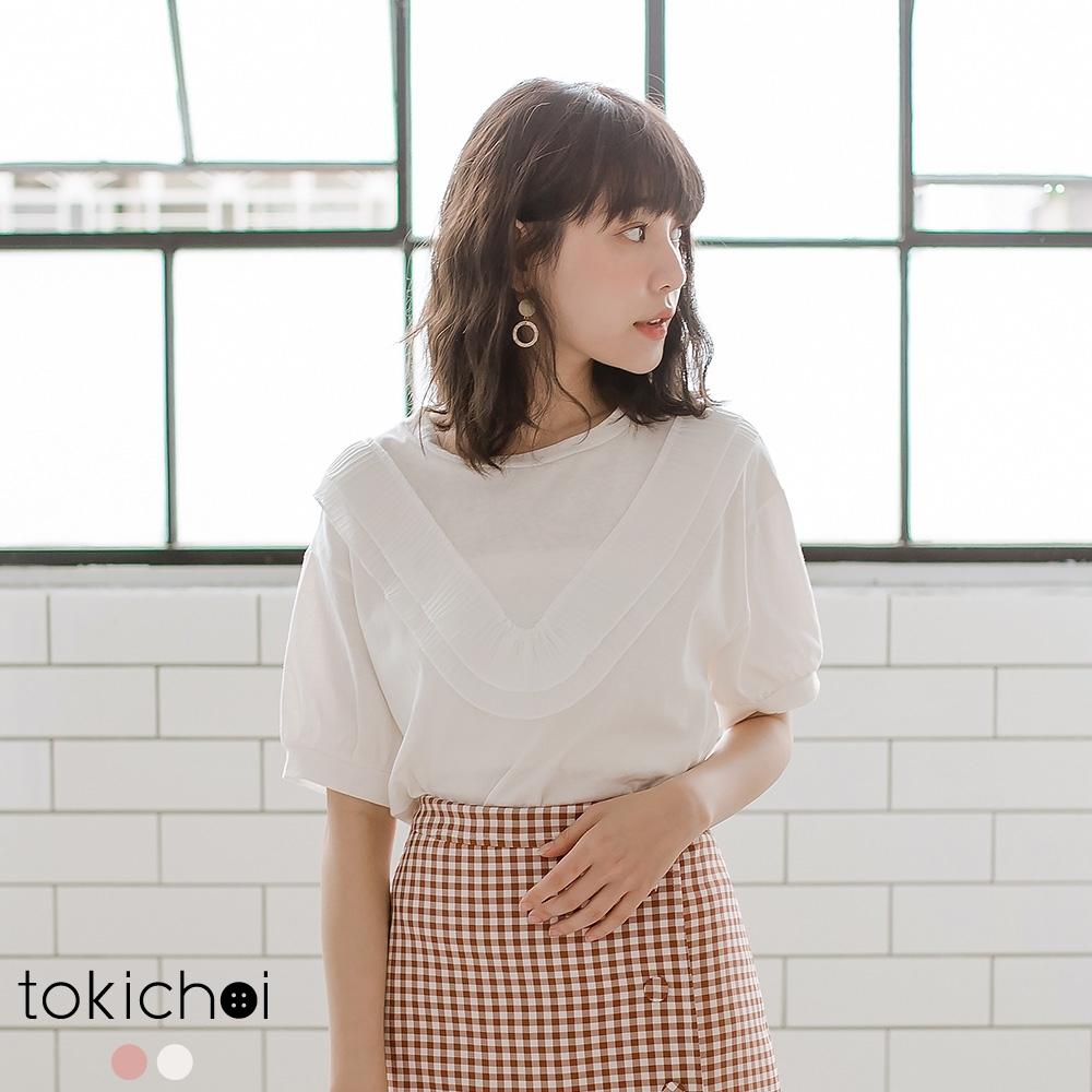 東京著衣 優雅甜美拼接V領雪紡公主袖上衣-S.M.L(共兩色)