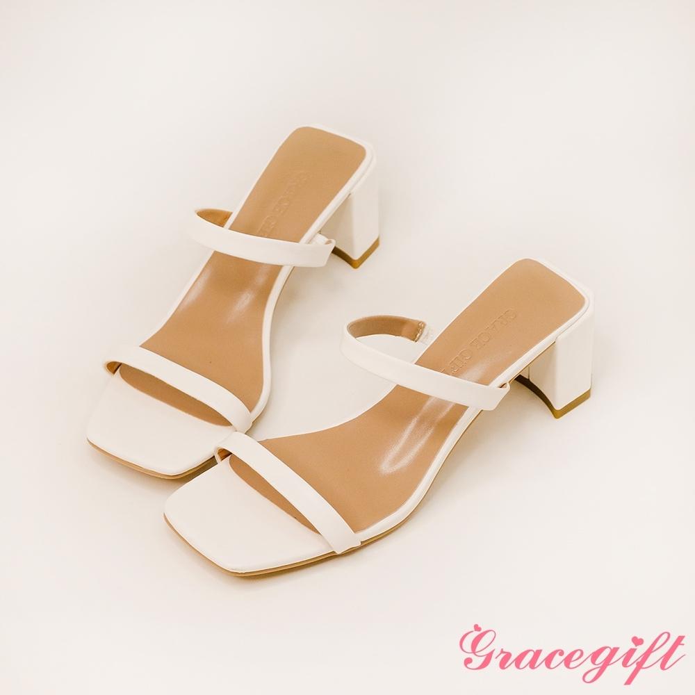 Grace gift-一字雙細帶高跟涼拖鞋 白