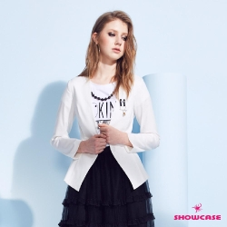 【SHOWCASE】寬襬剪接小立領胸針西裝外套(黑/白)