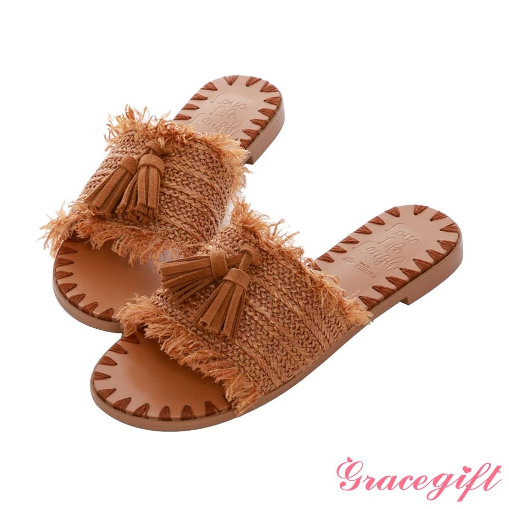 Grace gift X Kerina-聯名流蘇編織縫線平底涼拖鞋 棕