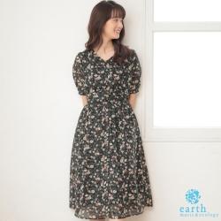 earth music 複古花朵印花V領高腰雪紡洋裝