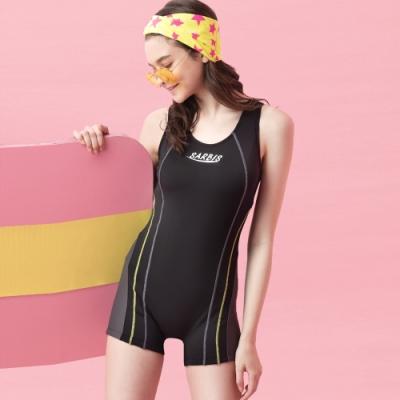 沙兒斯 泳裝 雙邊雙曲線紋飾連身四角女泳裝
