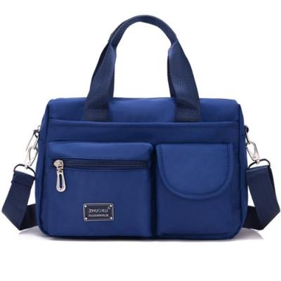I.Dear-歐美男女媽媽休閒尼龍口袋拉鍊斜背包側背包(BG82藍色)