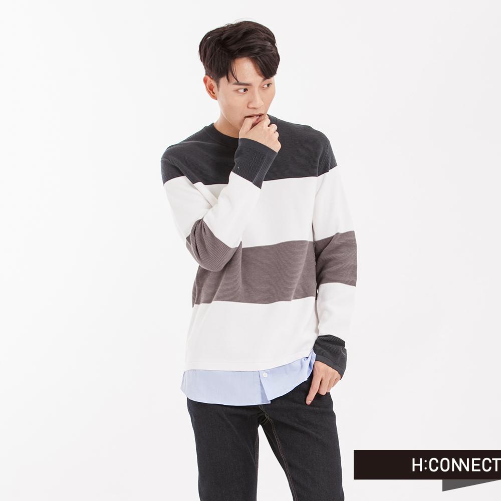 H:CONNECT韓國品牌男裝條紋假兩件針織襯衫-橄欖