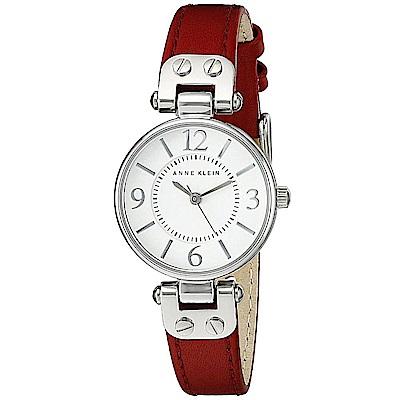 Anne Klein紅色西班牙序曲精緻小牛皮腕錶-玫瑰金x26mm AK-9442WTRD