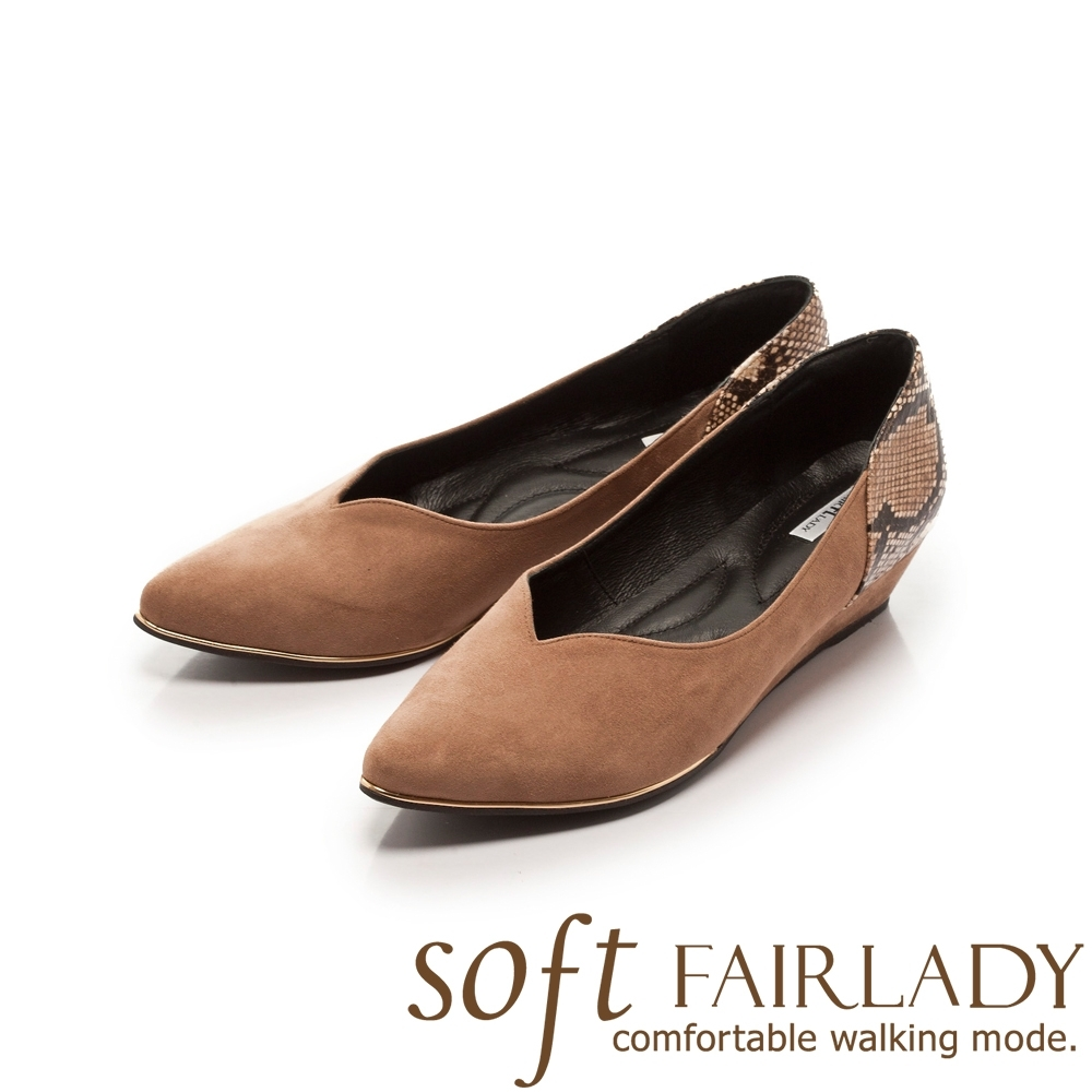 【FAIR LADY】Soft芯太軟 皮紋拼接尖頭楔型鞋 可可